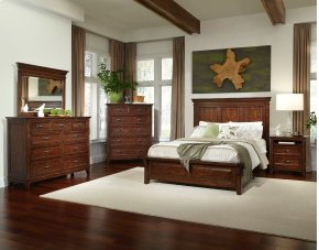 King Panel Bed with Three Drawer Storage