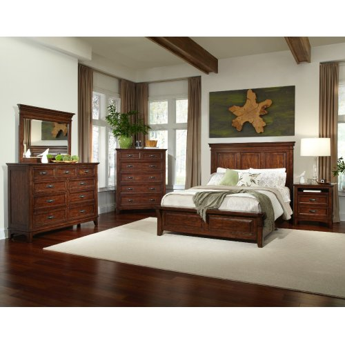 Queen Panel Bed with Three Drawer Storage