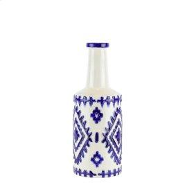 """Ceramic Bottle Vase, 14.5"""" White/blue"""