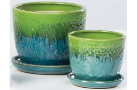Green/Blue Fondre Petits Pots with Attached Saucer - Set of 2