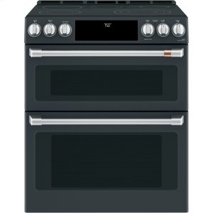 "Cafe AppliancesCaf(eback) 30"" Slide-In Front Control Radiant and Convection Double Oven Range"