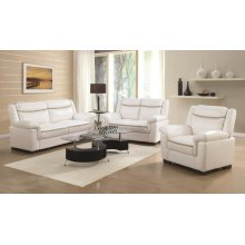 Arabella White Faux Leather Three-piece Living Room Set