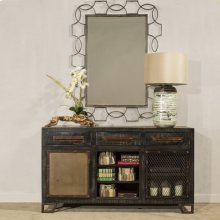 Rectangle Scroll Mirror - Distressed Gray