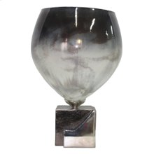 "Dark Ombre Glass/metal Vase 17"" Kd"