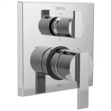 Chrome Angular Modern Monitor ® 14 Series Valve Trim with 6-Setting Integrated Diverter