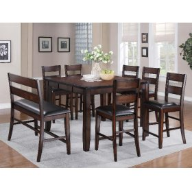 """Maldives Counter Ht. Tbl(1x18""""leaf) with 4 Barstools and Bench"""