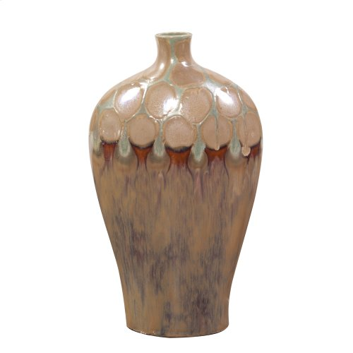 Mocha & Verde Dripped Ceramic Vase - Short
