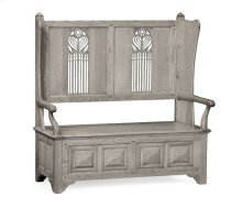 Gothic Style Grey Oak Settle with Storage