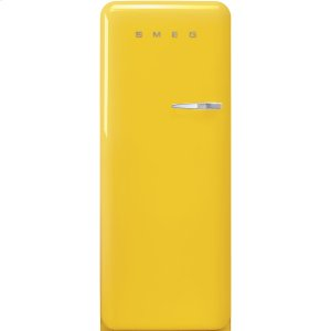 Smeg'50s Style fridge with ice compartment, Yellow, Left-hand hinge, 24'' in-width