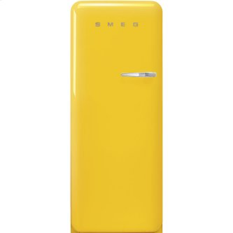 '50s Style fridge with ice compartment, Yellow, Left-hand hinge, 24'' in-width