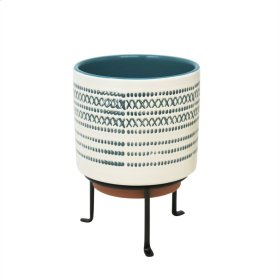 "Ceramic 6.75"" Planter On Stand Blue Stripe"