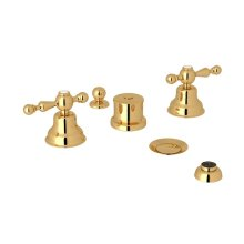 Italian Brass Arcana Five Hole Bidet Faucet with Arcana Series Only Ornate Metal Lever