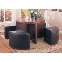DINING CHAIR - BROWN OTTOMAN ON CASTORS