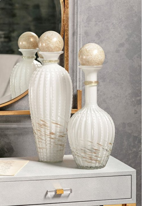 Brima Wide Art Glass Bottle w/ Stopper