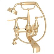 English Gold Perrin & Rowe Deco Exposed Deck Mount Tub Filler With Handshower with Deco Metal Lever