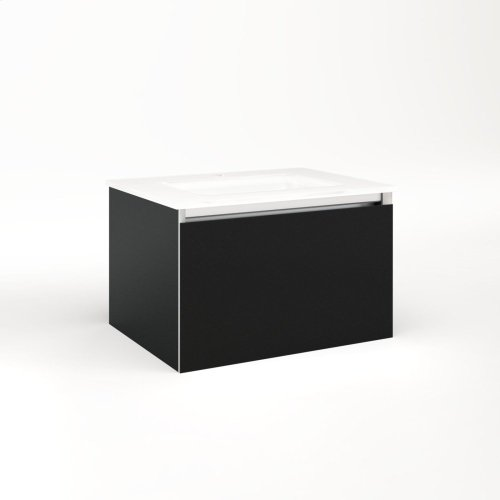 """Cartesian 24-1/8"""" X 15"""" X 18-3/4"""" Single Drawer Vanity In Matte Black With Slow-close Full Drawer and No Night Light"""