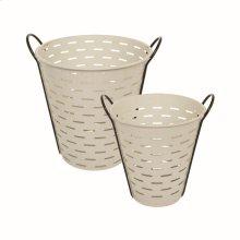 White Olive Baskets, Set of 2