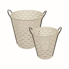 White Olive Baskets, Set of 2