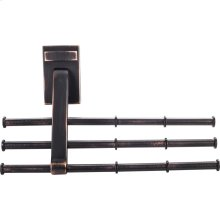 Screw Mounted Tie/Scarf Rack. Holds 12 Ties/Scarfs. Mounting Hardware is Hidden. Arms Can Be Changed for Left or Right Mounting