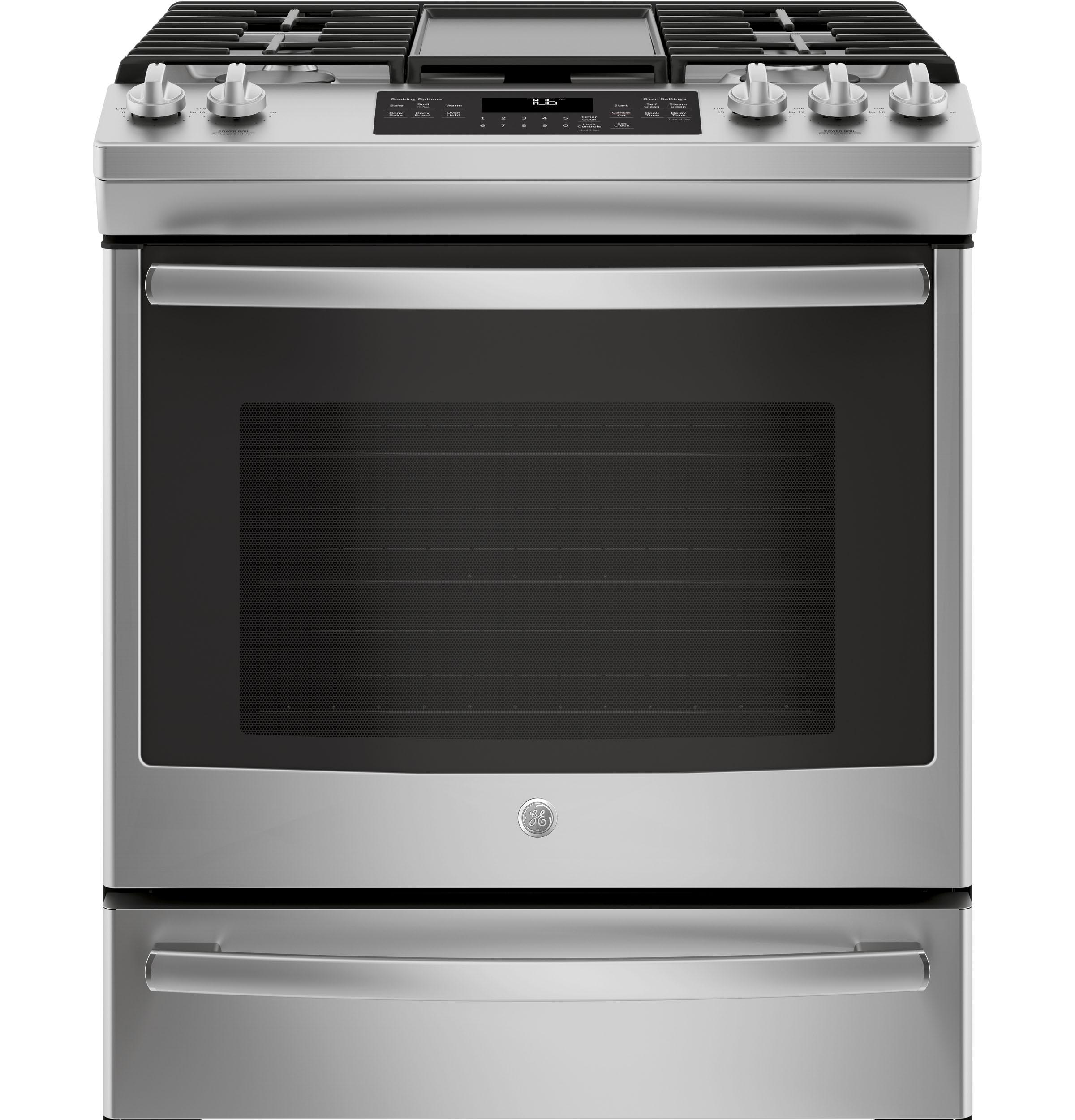 """GE(R) 30"""" Slide-In Front Control Convection Gas Range  STAINLESS STEEL"""