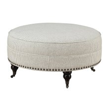 Emerald Home Wilow Creek Round Ottoman Gray Stripe U4120-22-23