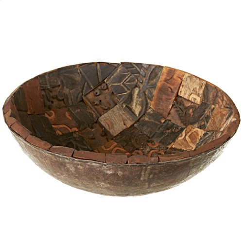 Decorative Repurposed Block Print Bowl (Each One Will Vary)