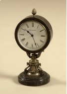 ANTIQUE BRASS TABLE TOP CLOCK WITH DARK SNAKESKIN STONE BASE AND CASING Product Image