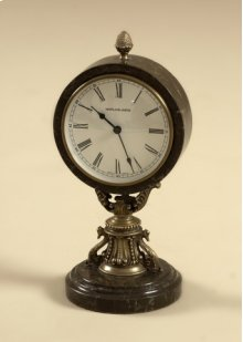 Antique Brass Table Top Clock with Dark Snakeskin Stone Base and Casing