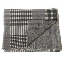 Grey Plaid Knit Throw.