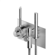In line thermostatic mixer with hand shower.