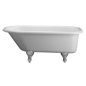 """Anthea 60"""" Double Acrylic Roll Top Tub - White"""