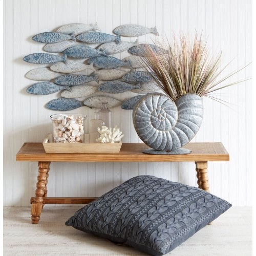 Weathered Layered Embossed Fish Wall Decor