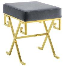 Twist Performance Velvet Bench in Gold Gray