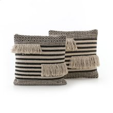 Square Style Split Fringe Pillow, Set of 2