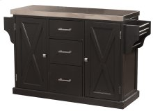 Brigham Kitchen Island In Black With Stainless Steel Top