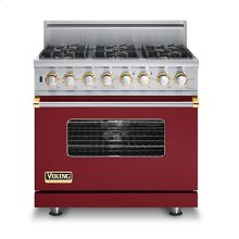 "36"" Custom Sealed Burner Dual Fuel Range, Natural Gas, Brass Accent"