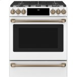 "Caf(eback) 30"" Slide-In Front Control Dual-Fuel Convection Range With Warming Drawer"