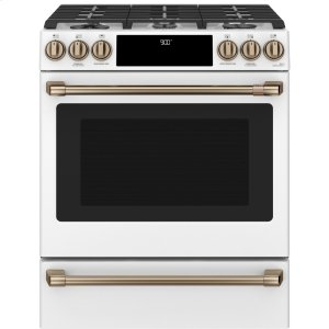 "Cafe AppliancesCaf(eback) 30"" Smart Slide-In, Front-Control, Dual-Fuel Range with Warming Drawer"