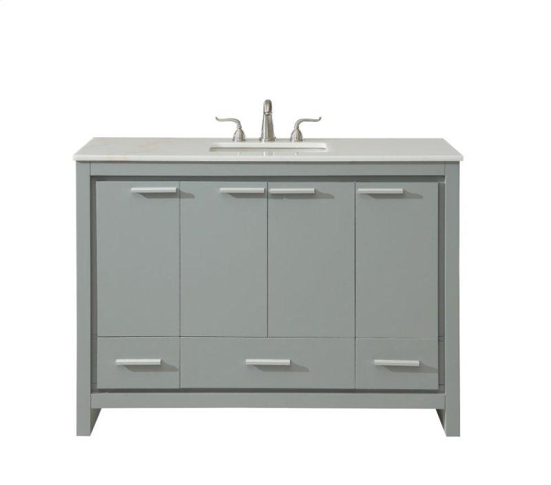 Single Bathroom Vanity Set In Grey Hidden