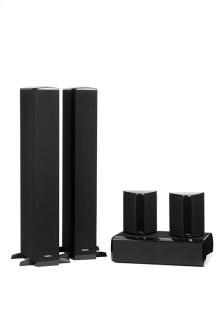 Five piece 5.1 channel system with built-in powered subwoofers
