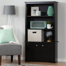 3-Shelf Bookcase with Doors - Pure Black