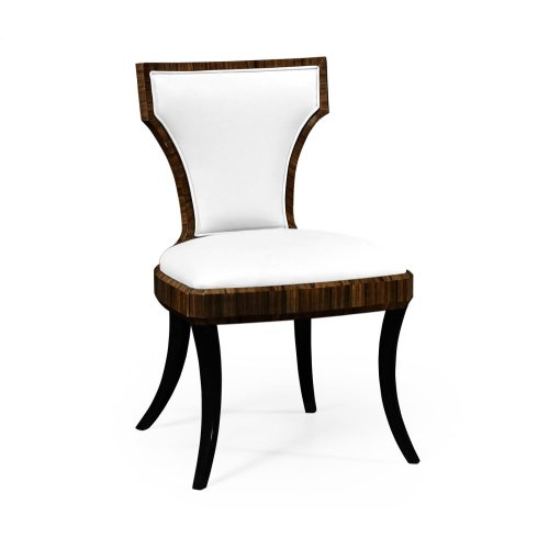 Full Back Art Deco Macassar Ebony High Lustre Dining Side Chair, Upholstered in COM