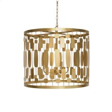 Gold Leaf Wire Drum Pendant With 3-light Candle Cluster for 40 W Bulbs. Comes With 3' Gold Chain and Canopy.