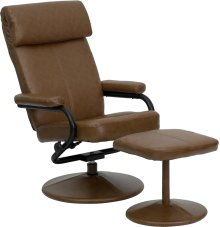Contemporary Multi-Position Headrest Recliner and Ottoman with Wrapped Base in Palimino Leather