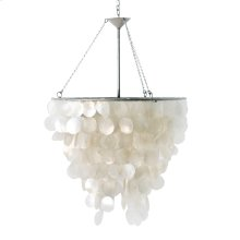 Round Chandelier With Round Capiz Shells and A Single 60w Socket.