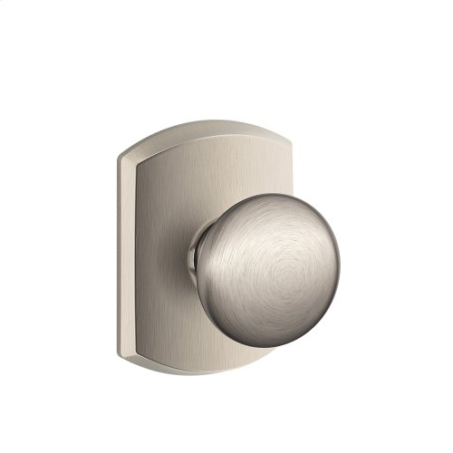 Plymouth Knob with Greenwich trim Hall & Closet Lock - Satin Nickel