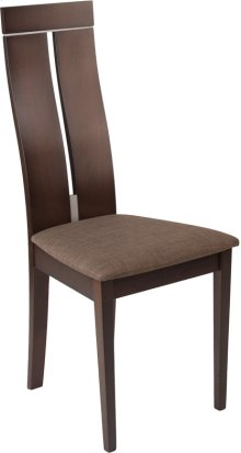 Avalon Espresso Finish Wood Dining Chair with Clean Lines and Golden Honey Brown Fabric Seat