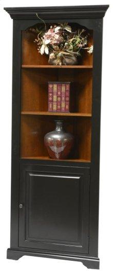 Corner Bookcase w/Door, Fixed Shelves,Birch/Ply