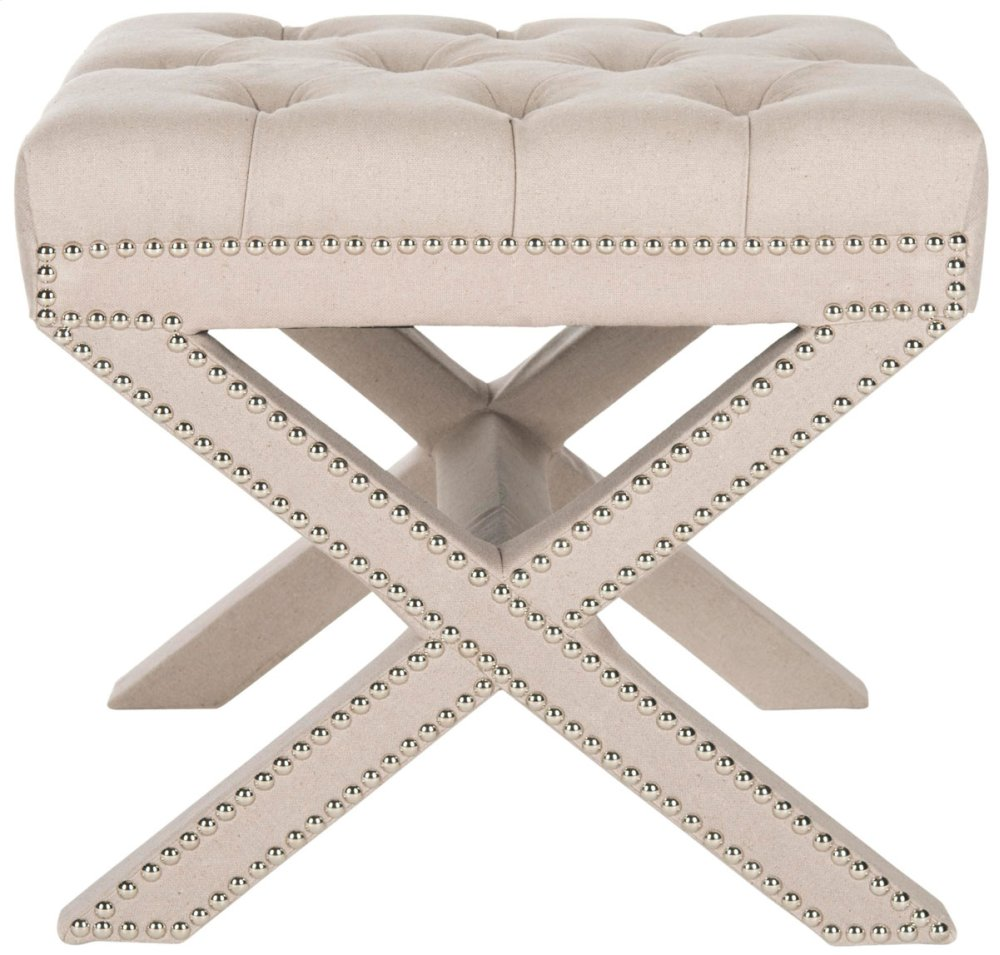 Patrice Ottoman - Silver Nail Heads - Taupe