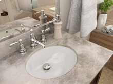 Carlyn Oval Biscuit Vitreous China Undermount Lavatory With Overflow - Ceramic White